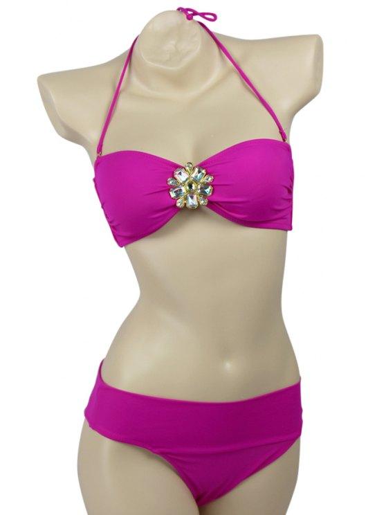 fashion Solid Color Diamante Halter Bikini Set - PLUM S