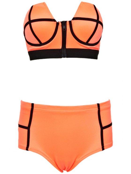unique Color Block Spliced Strapless Bikini Set - ORANGE S