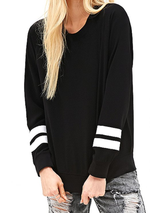lady Letter Figure Print Long Sleeve Sweatshirt - BLACK XS