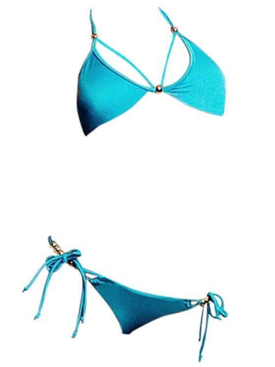 ladies Halter Lake Blue Bikini Set - LAKE BLUE S