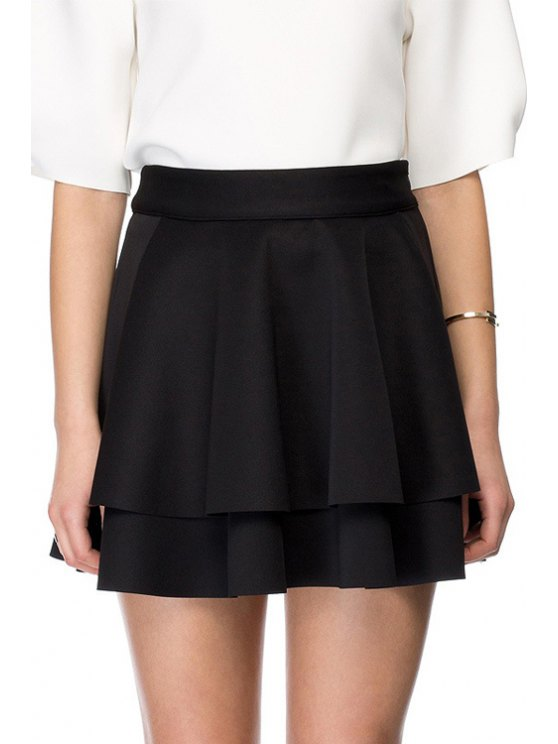 sale Solid Color Double-Layered Pleated Skirt - BLACK XS