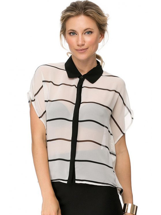 affordable Stripe See-Through Short Sleeve Shirt - STRIPE XS