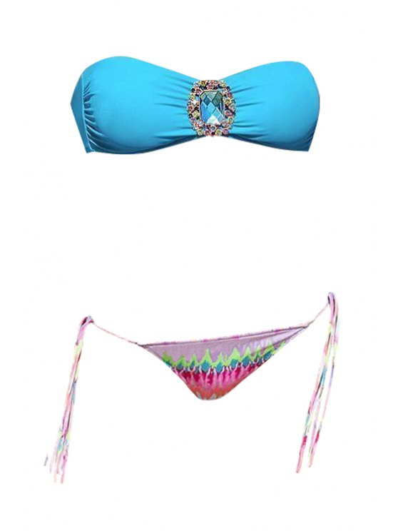 online Print Strapless Rhinestone Bikini Set - BLUE S