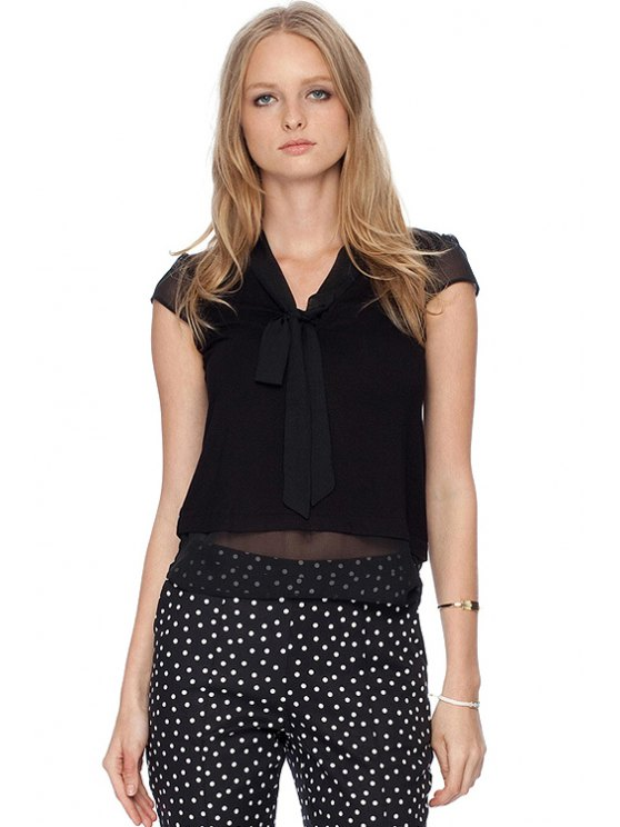 unique Tie-Up Solid Color Splicing T-Shirt - BLACK XS