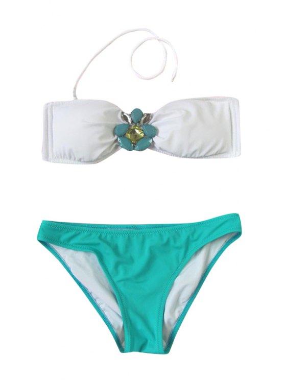 fancy Rhinestone Color Block Halter Bikini Set - WHITE AND GREEN S
