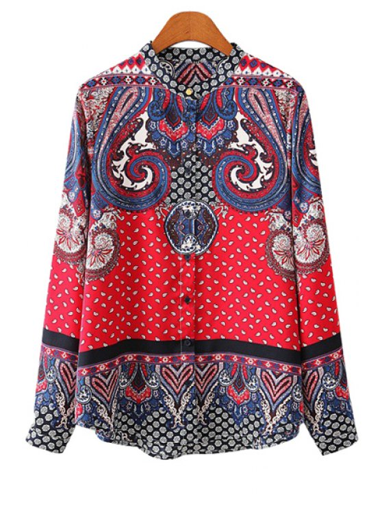 best Paisley Print Color Block Shirt - RED S