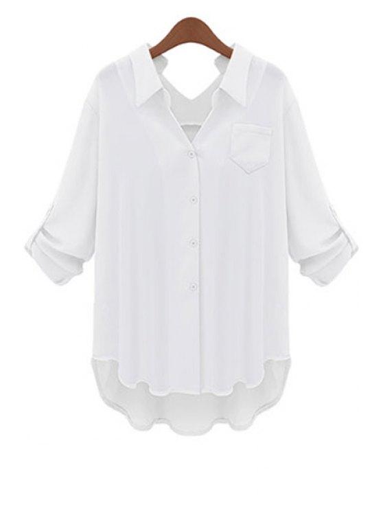 sale Solid Color Shirt Neck Blouse - WHITE XL