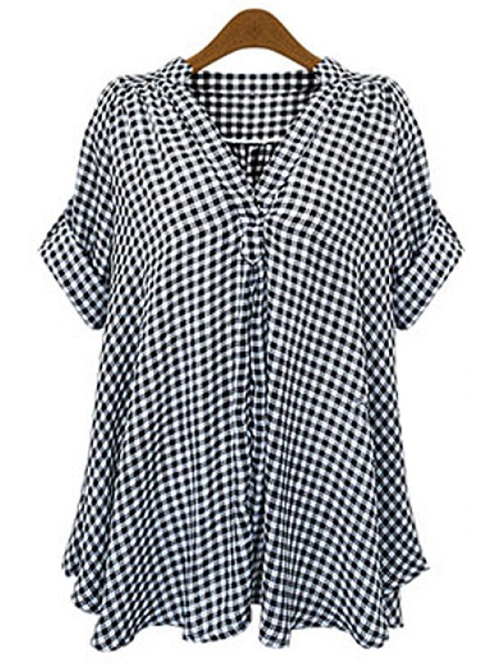 shops V-Neck Checked Blouse - CHECKED 4XL