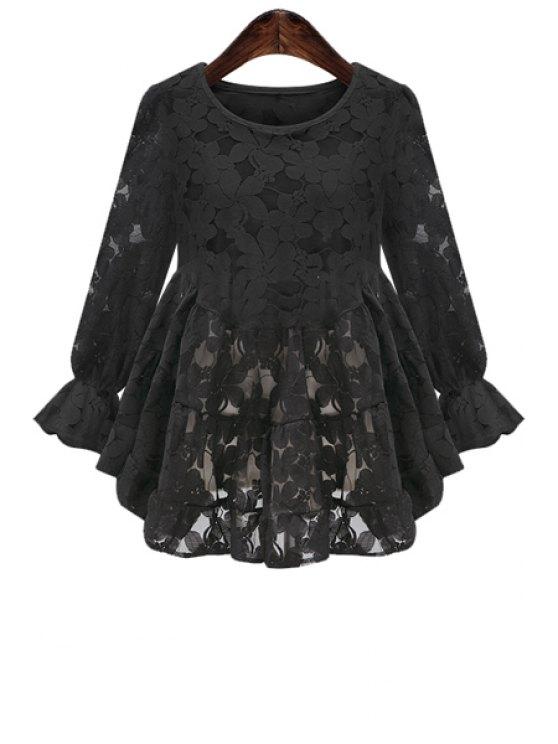fashion Lace Nine-Minute Sleeve Blouse - BLACK XL