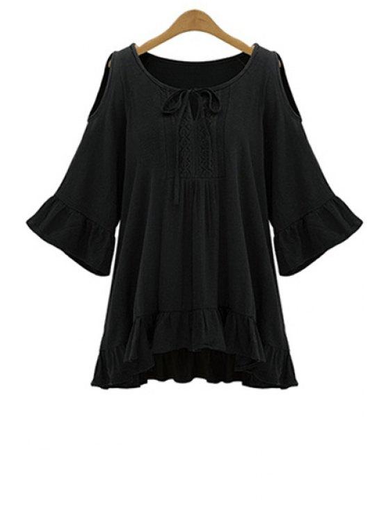 shop Solid Color Ruffles 3/4 Sleeve Blouse - BLACK XL
