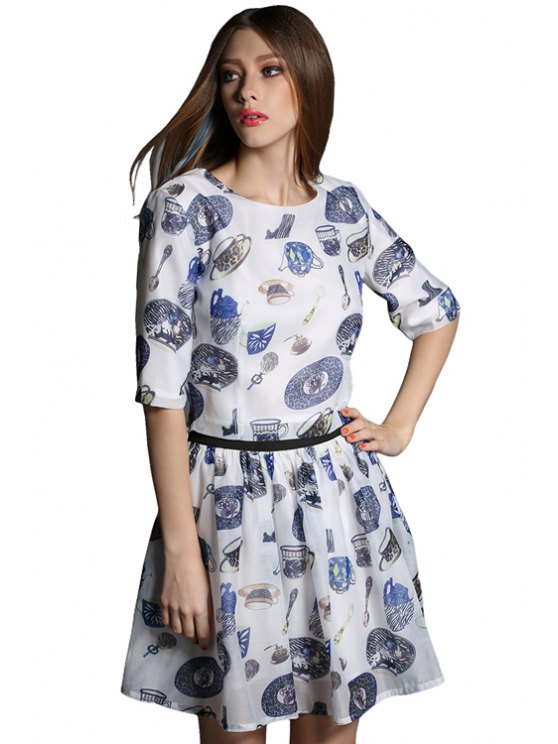 outfit Cup Print Blouse and A-Line Skirt Suit - BLUE GRAY S