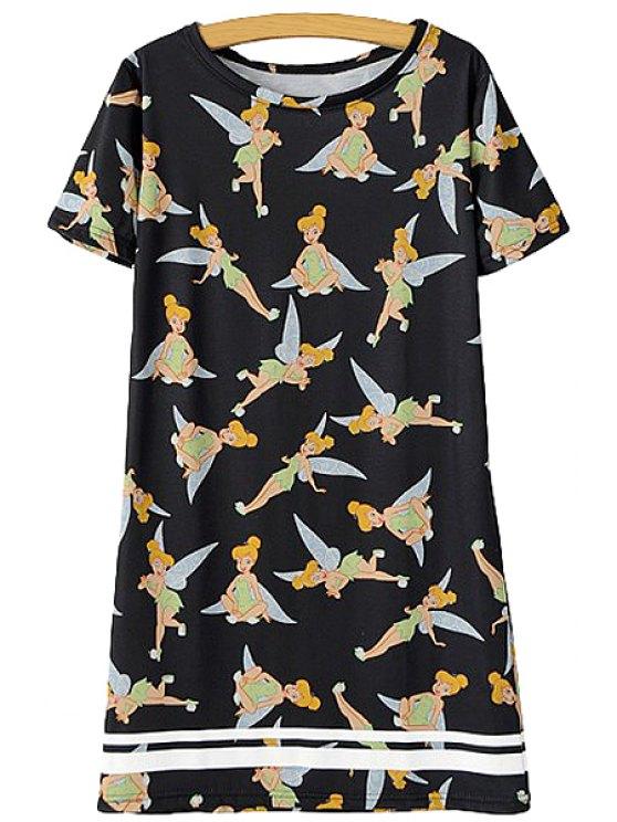 ladies Little Girl Print Short Sleeve Dress - BLACK S