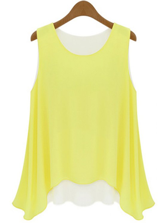 affordable Color Block Chiffon Tank Top - YELLOW XL
