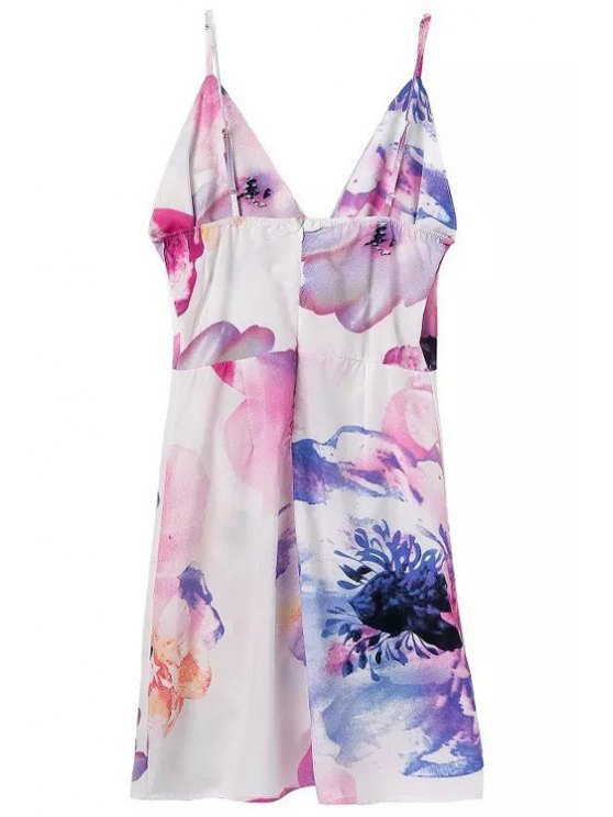 fancy Backless Floral Print Sleeveless Dress - PINK S