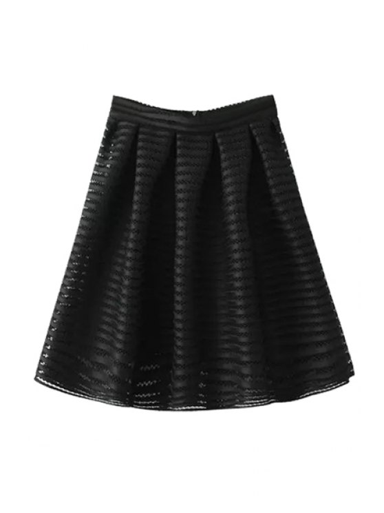 online Openwork Zipper Fly Skirt - BLACK S