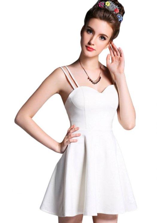 sale Solid Color Spaghetti Straps A-Line Dress - WHITE S