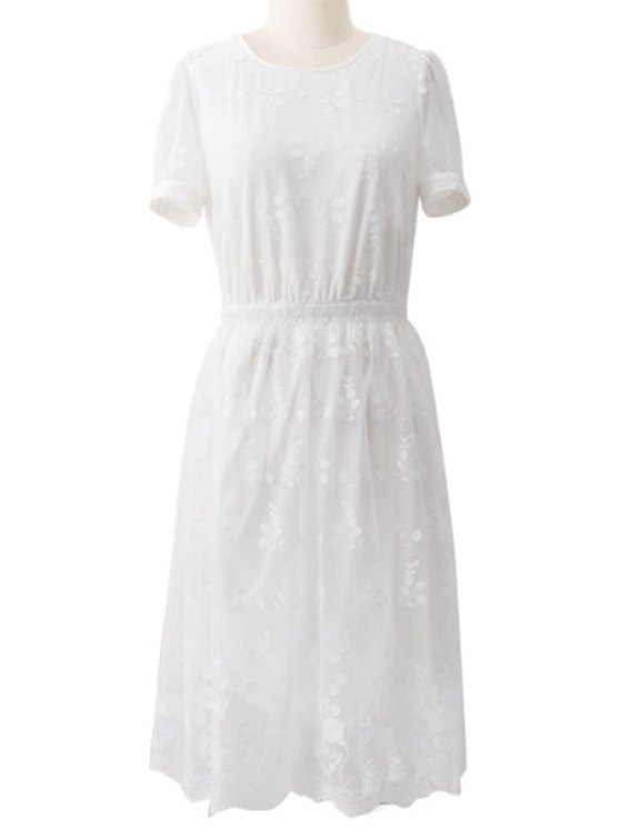 outfit White Lace Short Sleeve Dress - WHITE S