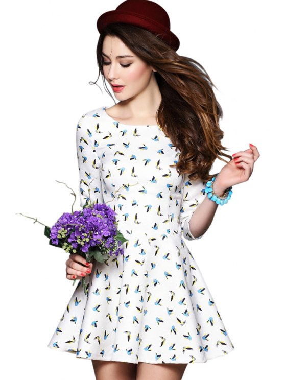affordable Full Bird Print 3/4 Sleeves Dress - OFF-WHITE S
