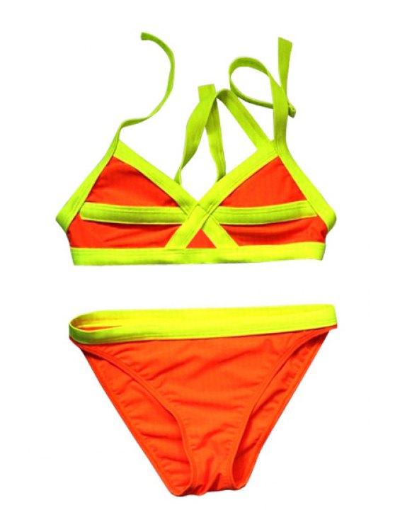 ladies Color Block Divided Type Swimwear - YELLOW M