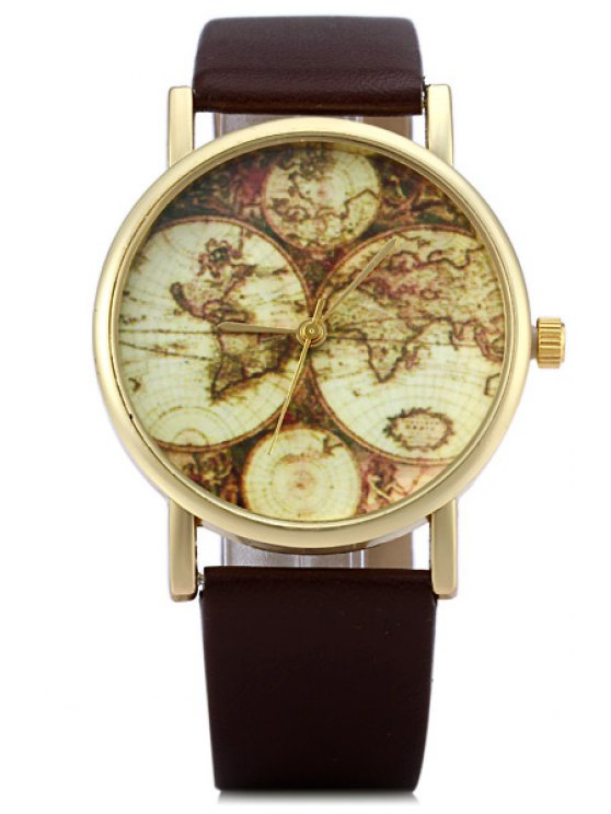 fashion Map Print Watch - COFFEE