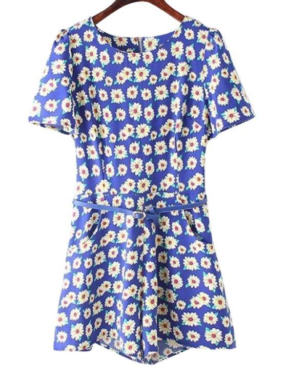 best Daisy Print Belt Short Sleeve Romper - BLUE S