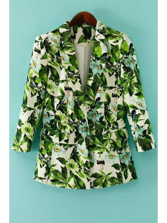 buy Green Leaves Print Long Sleeve Blazer - GREEN S