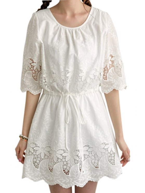 online Hollow Out White Half Sleeve Dress - WHITE S