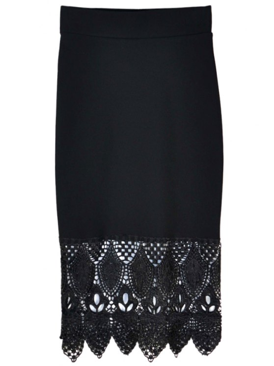 outfit Crochet Spliced Bodycon Skirt - BLACK ONE SIZE(FIT SIZE XS TO M)