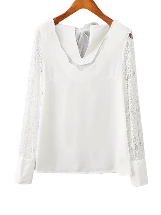 fashion V-Neck Lace Splicing Solid Color Shirt - WHITE S