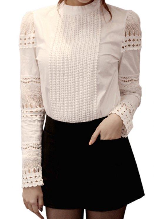best Hollow Spliced White Shirt - WHITE 2XL