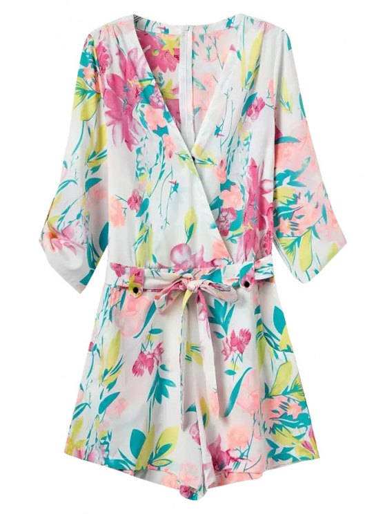 affordable Colorful Floral Print Tie-Up Romper - COLORMIX S