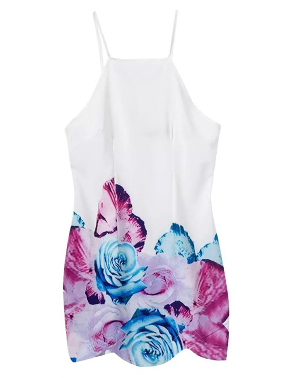 affordable Spaghetti Strap Floral Print Backless Dress - WHITE S