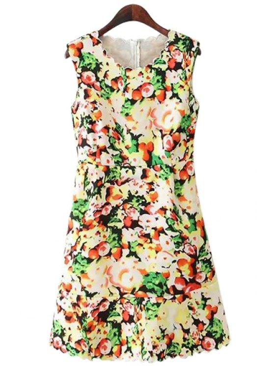 women's Jewel Neck Colorful Floral Print Dress - COLORMIX S