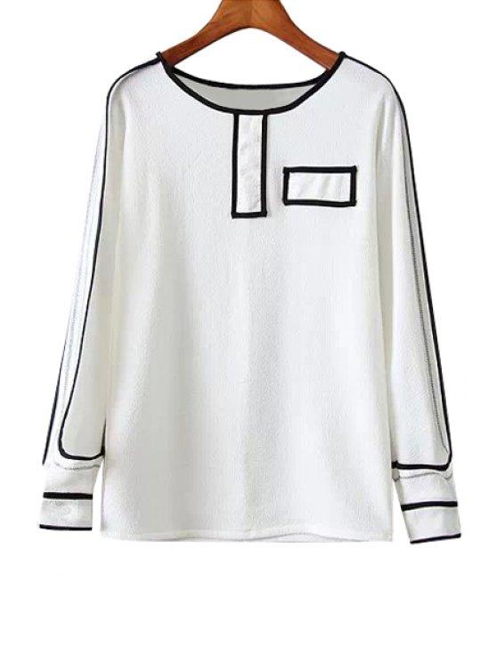 best Black Stripe Long Sleeve Shirt - WHITE S