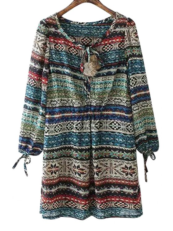 women's Colorful Print Ball Tie-Up Long Sleeve Dress - COLORMIX ONE SIZE(FIT SIZE XS TO M)
