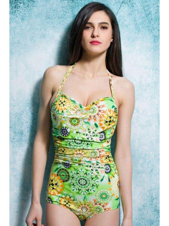 shops Green Print Halterneck One-Piece Swimwear - GREEN L