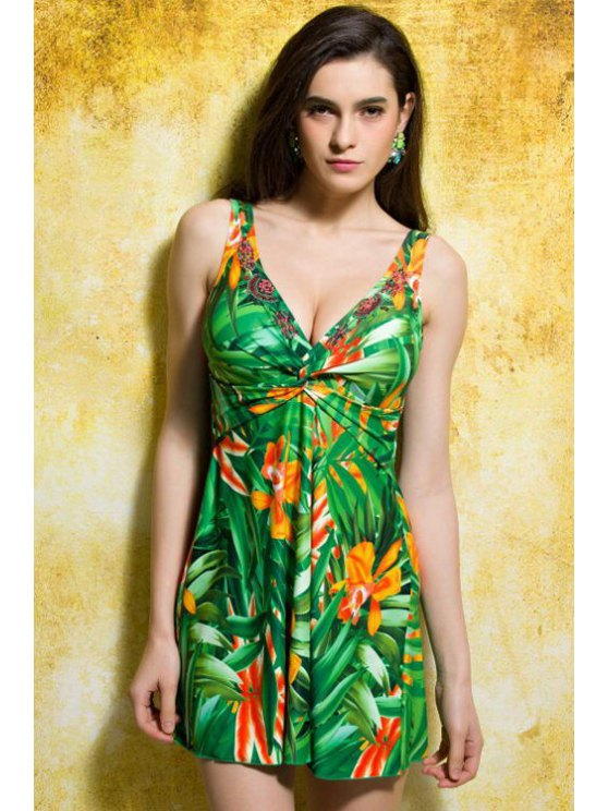 shop Green Floral V-Neck One-Piece Swimwear - GREEN M