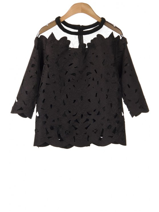 online Hollow Voile Spliced 3/4 Sleeve Blouse - BLACK ONE SIZE(FIT SIZE XS TO M)