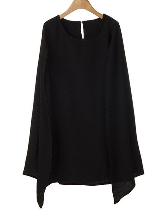 sale Solid Color Cape-Style Dress - BLACK S