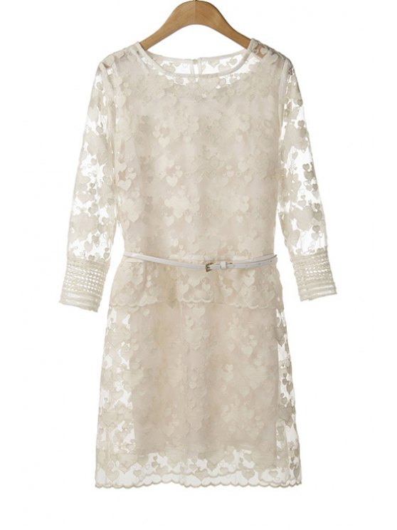 fancy Lace Embroidery Dress and Sundress Twinset - WHITE M