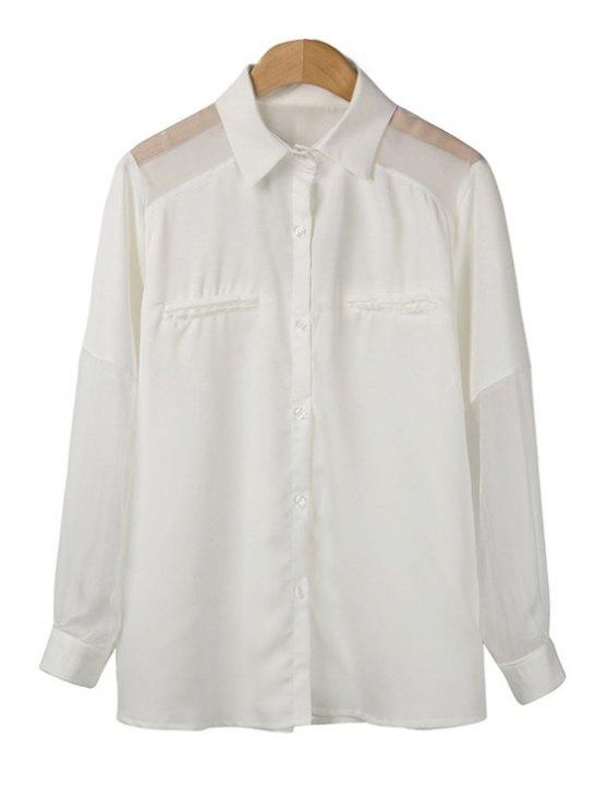 hot Voile Spliced Long Sleeve Shirt - WHITE M