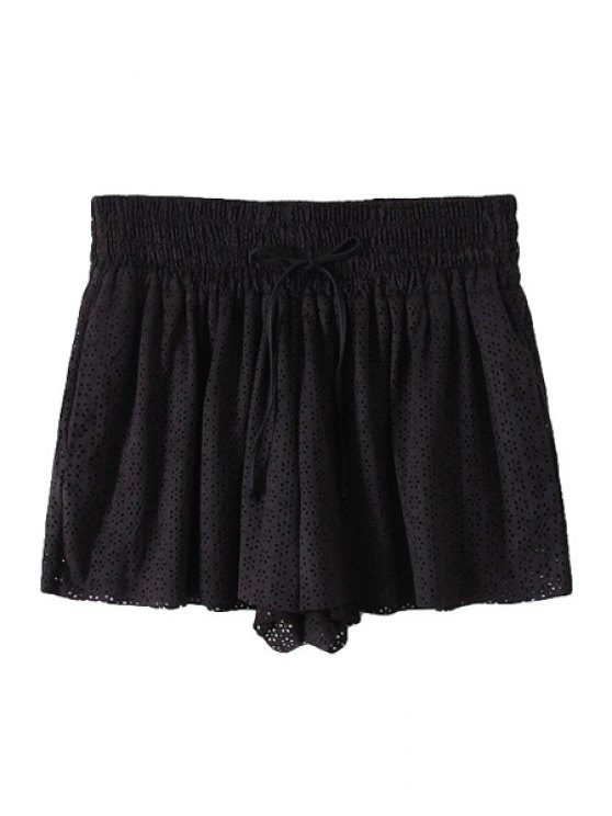 women Openwork Tie-Up Elastic Waist Shorts - BLACK M