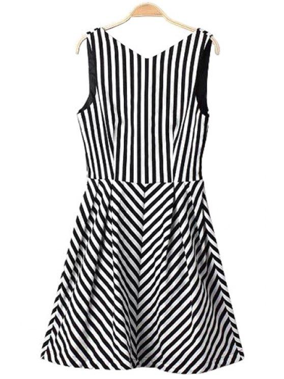 unique V-Neck Stripe Ruffle Dress - WHITE AND BLACK S