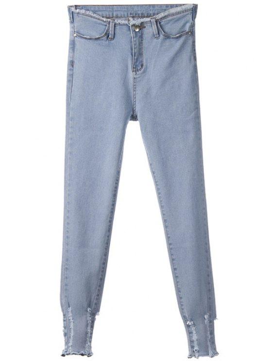 ladies Frayed Narrow Feet Jeans - LIGHT BLUE 26