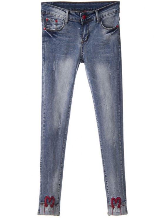 fashion Embroidery Narrow Feet Jeans - DEEP BLUE 26