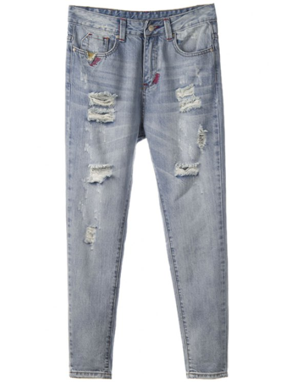 fashion Broken Hole Straight Leg Vintage Jeans - BLUE GRAY 28