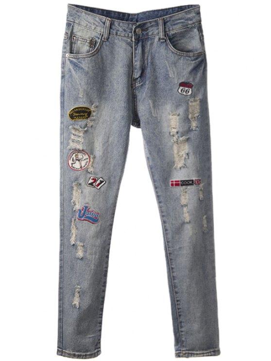 fancy Embroidery Broken Hole Jeans - BLUE GRAY 26