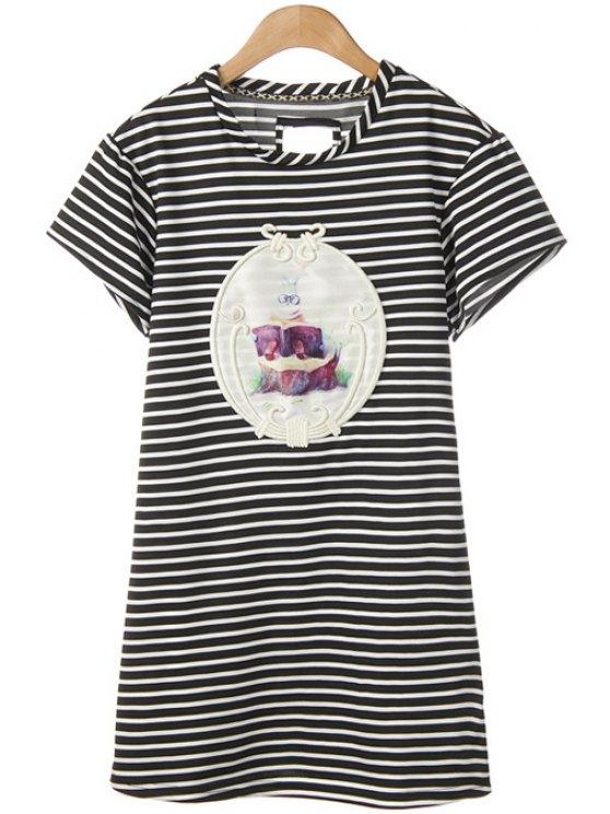 shops Rabbit Print Striped Short Sleeve Dress - WHITE AND BLACK M