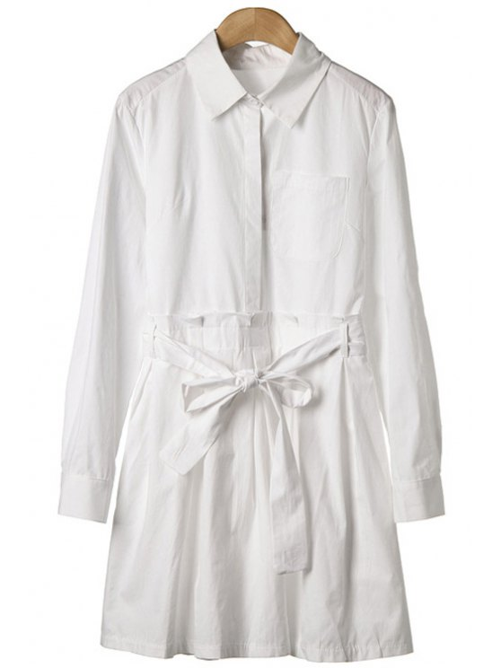 affordable White Long Sleeve Self-Tie Dress - WHITE S