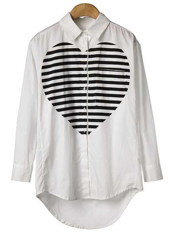 ladies Striped Heart Print Long Sleeve Shirt - WHITE S